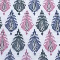 THE VAST IKAT FIELDS MIDDAY BLOOM FABRIC COTTON LINEN BLEND
