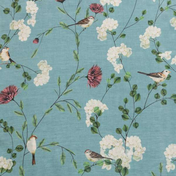 "100% Linen Chrysanthemums & Sparrows Ocean Fabric Swatch 6"" x 6"""
