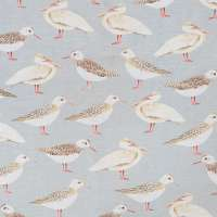 "100% Linen Seagulls of Virgin Islands Sea Fabric Swatch 6"" x 6"""