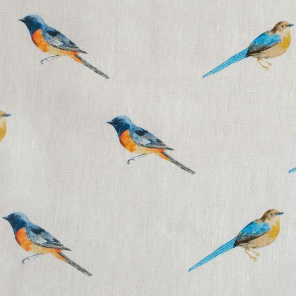 "100% Linen Bird Brunch Fabric Swatch 6"" x 6"""