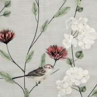 "Chrysanthemums and Sparrows Breeze Cotton Linen Blend Fabric Swatch 6"" x 6"""