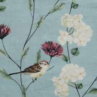 "Chrysanthemums & Sparrows Ocean Cotton Linen Blend Fabric Swatch 6"" x 6"""