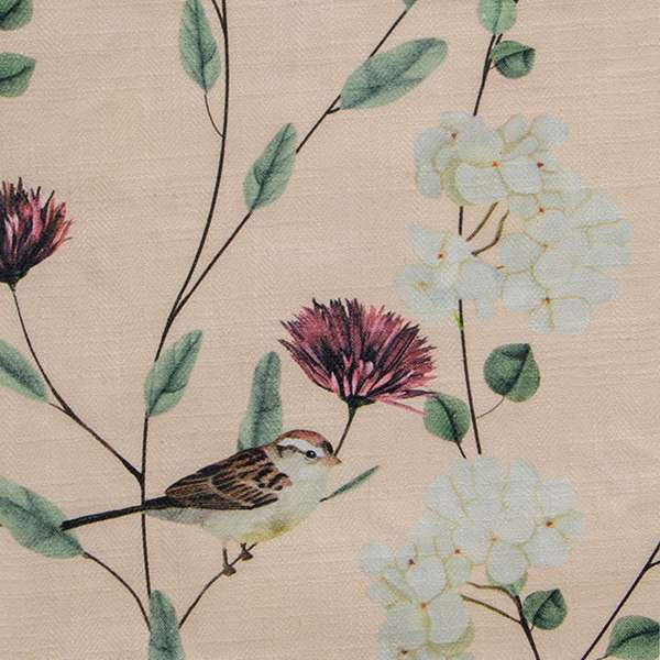 "Chrysanthemums & Sparrows Shore Fabric Swatch 6"" x 6"""
