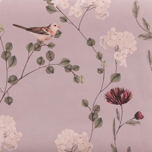 "Chrysanthemums and Sparrows - Wallpaper Swatch 7"" x 10"""