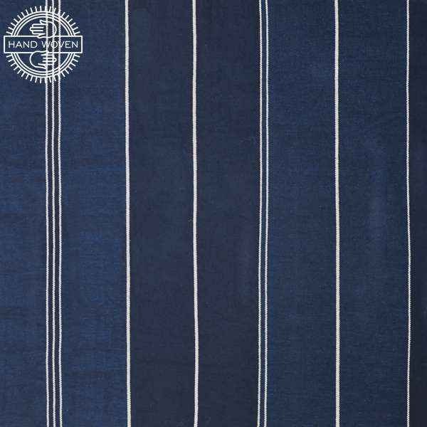 100% COTTON INDIGO STRIPE NORWAY (HANDOWOVEN)