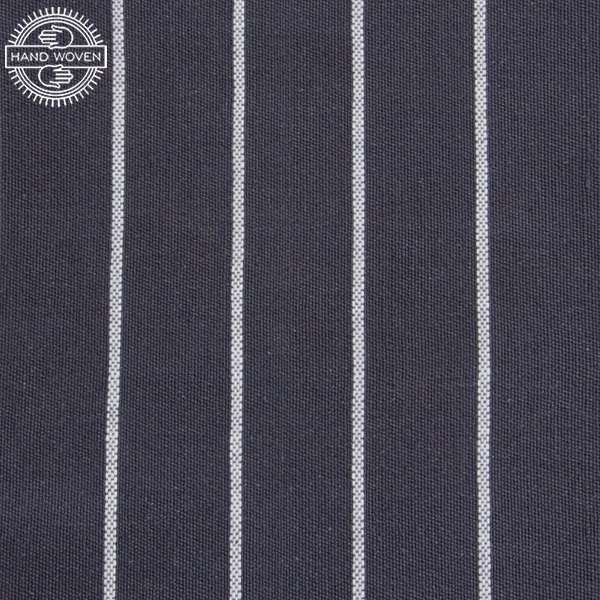 "100% Cotton Grey and White Stripe (Handwoven) Swatch 6"" x 6"""