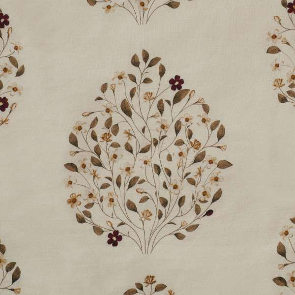 "100% Linen Jasmine Bagh Fields Fabric Swatch 6"" x 6"""