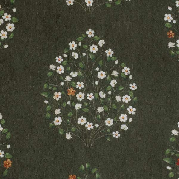 "100% Linen Jasmine Bagh Meadows Fabric Swatch 6"" x 6"""
