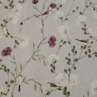 "100% Linen Chrysanthemums and Sparrows Breeze Fabric Swatch 6"" x 6"""