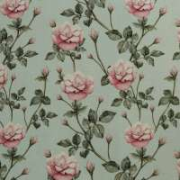 "100% Linen Vintage Rose Country Garden Fabric Swatch 6"" x 6"""