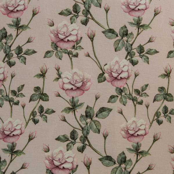 "100% Linen Vintage Rose Secret Garden Fabric Swatch 6"" x 6"""