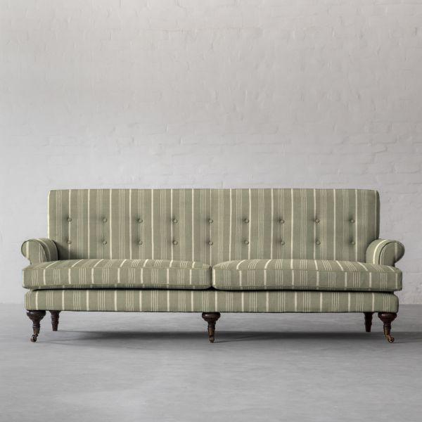 Linen Cotton Sage & Pearl Stripe