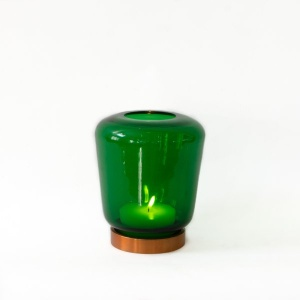 Lantern Glass Candle Holder - Glowing Green