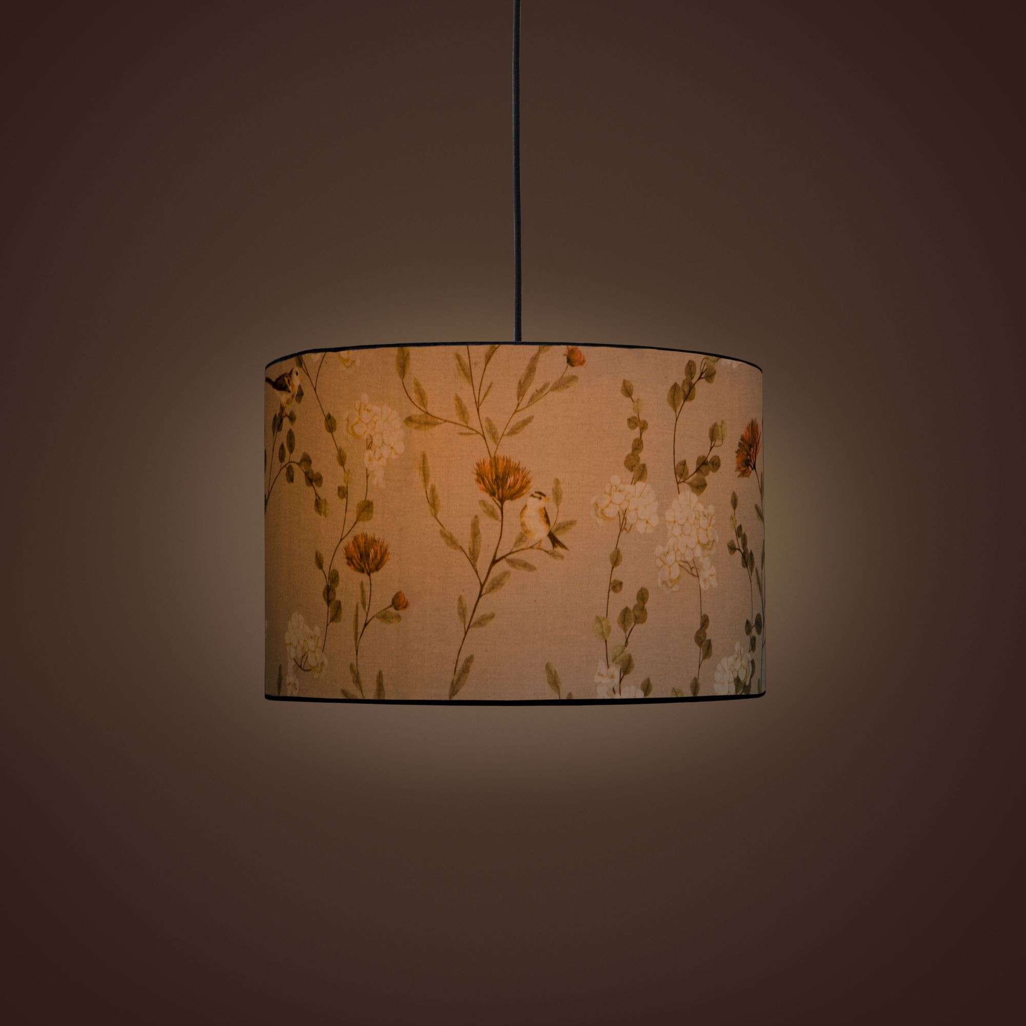 Villa Cylindrical Pendant Lamp - Chrysanthemums & Sparrows Breeze