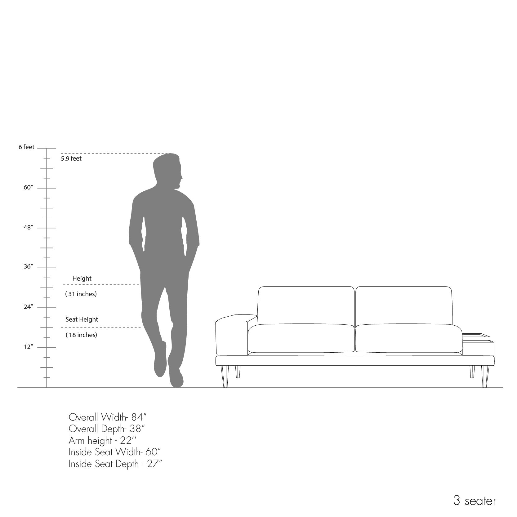 Munich Sofa Collection - Right Arm Chute