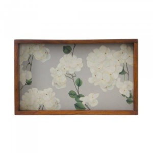 Chrysanthemums & Sparrows Breeze - Wooden Tray