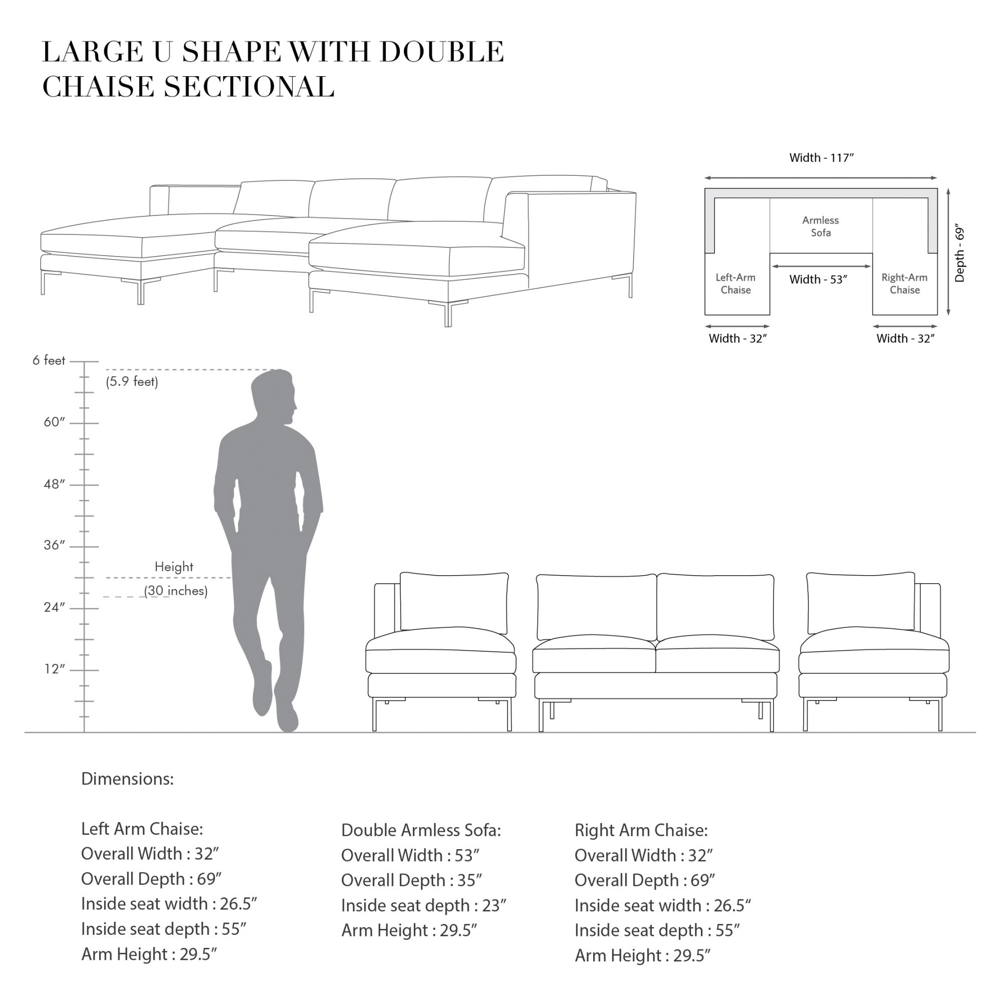 L.A Large U-shaped sectional with Double Chaise