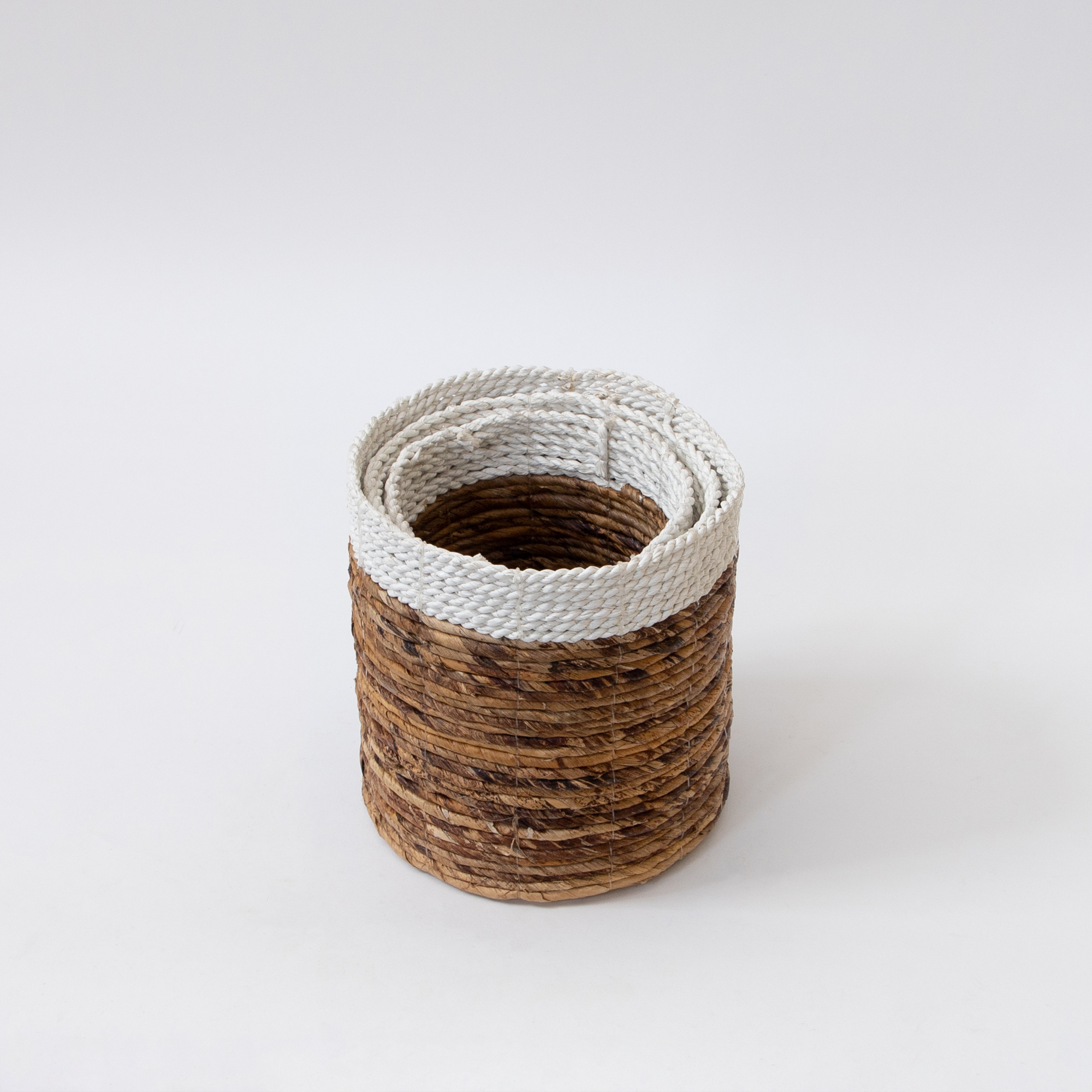 Angkor Banana Leaf Rattan Basket - Natural Ivory