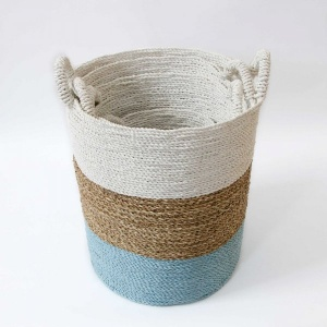 Beach Palm Storage Basket - Aqua Natural White