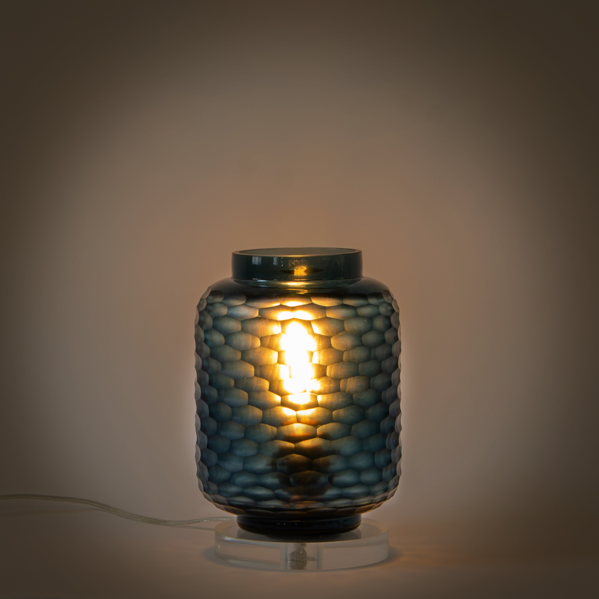 Beehive Glass Lamp Stand - Teal
