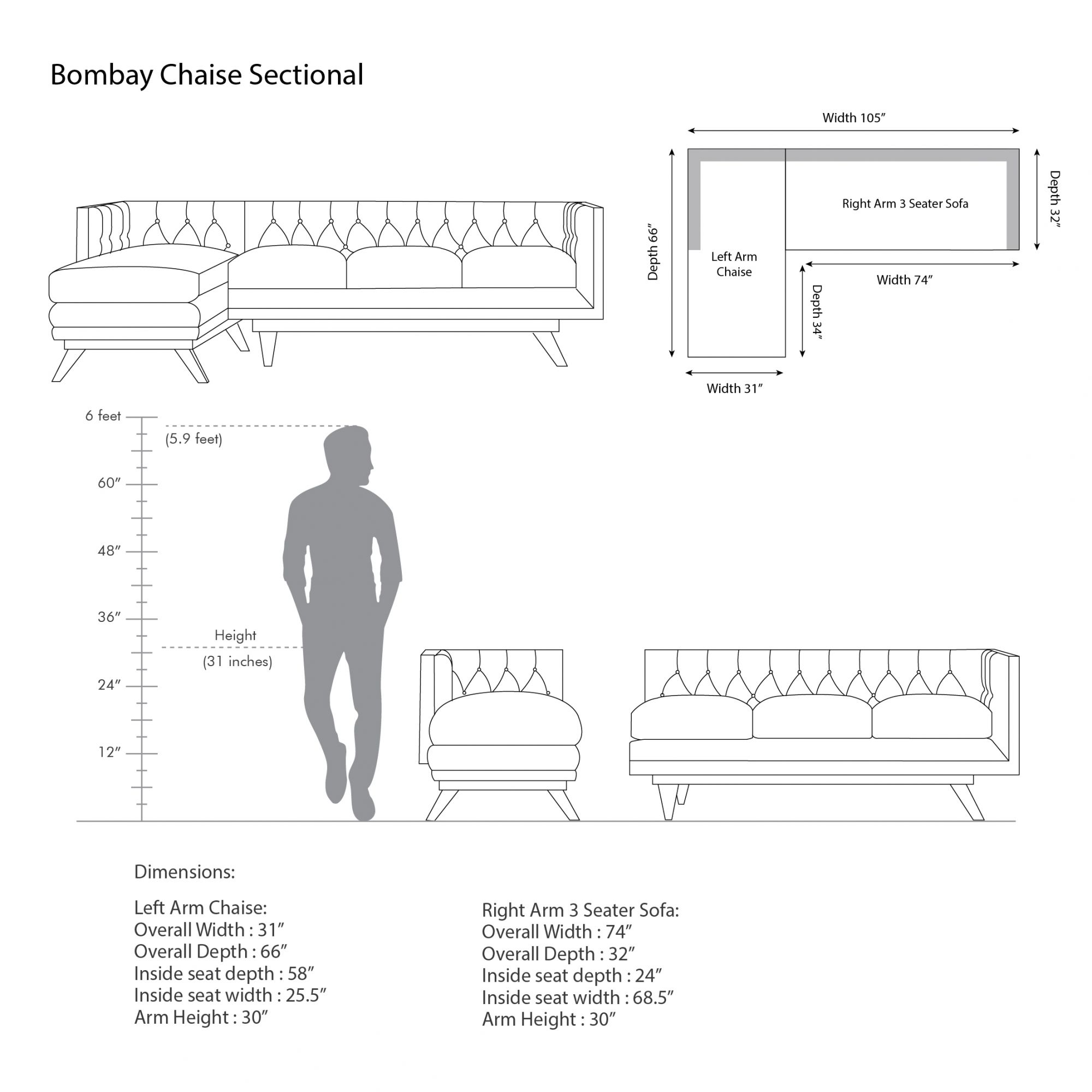 Bombay Large Chaise Sectional