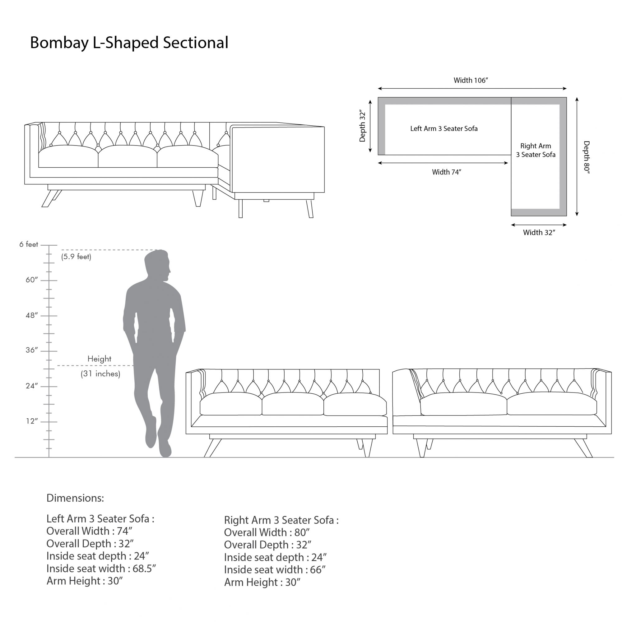 Bombay L-shaped Sectional
