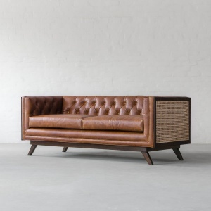 Bombay Rattan Leather Sofa Collection