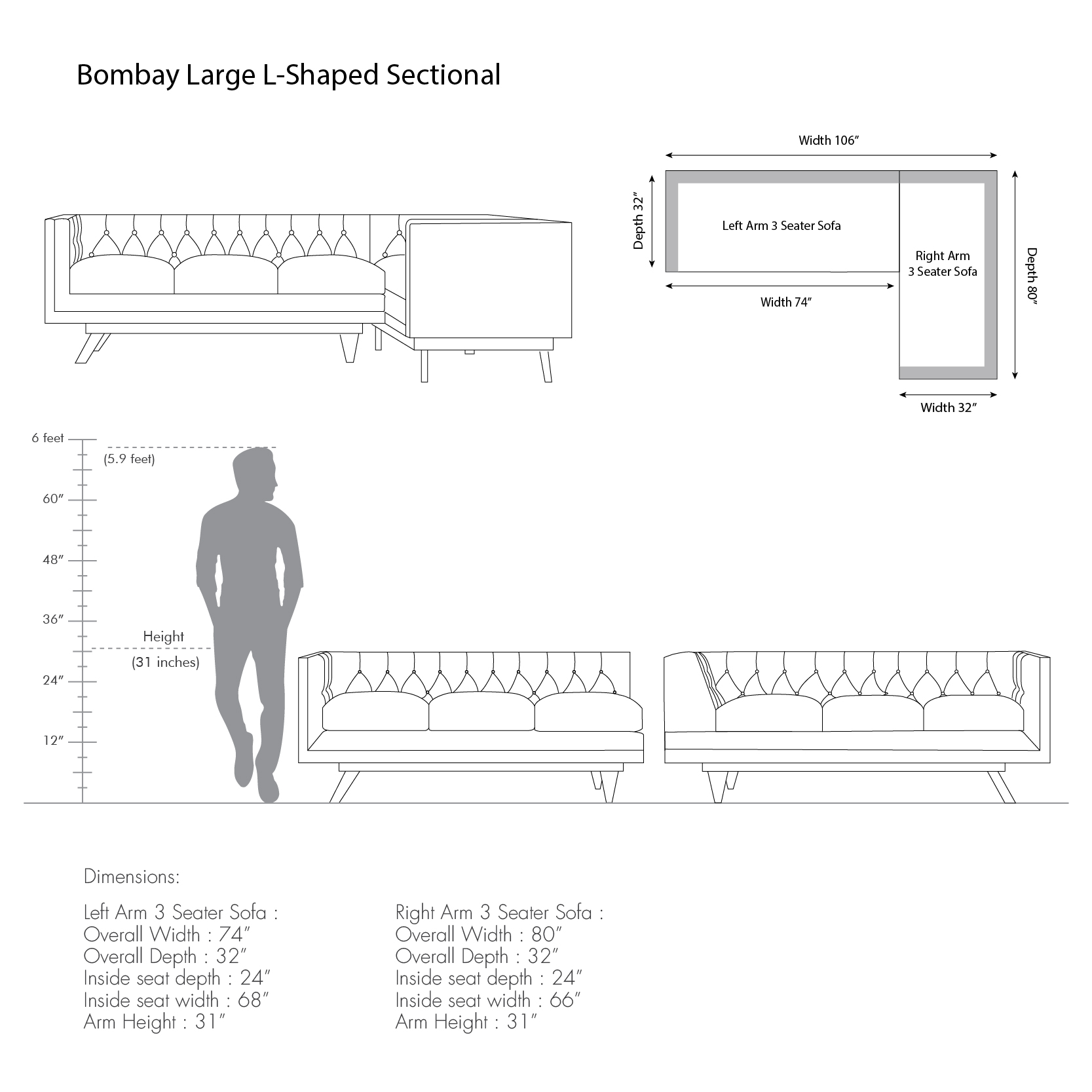 Bombay Large L-shaped Sectional