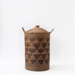 Buana Chevron Handwoven basket With Lid – and side swing handles