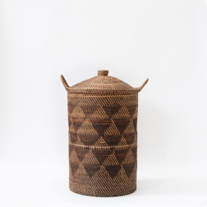 Buana Chevron Handwoven basket With Lid and side swing handles