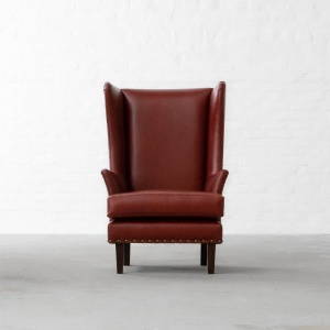 Candolim Leather Wingback Chair