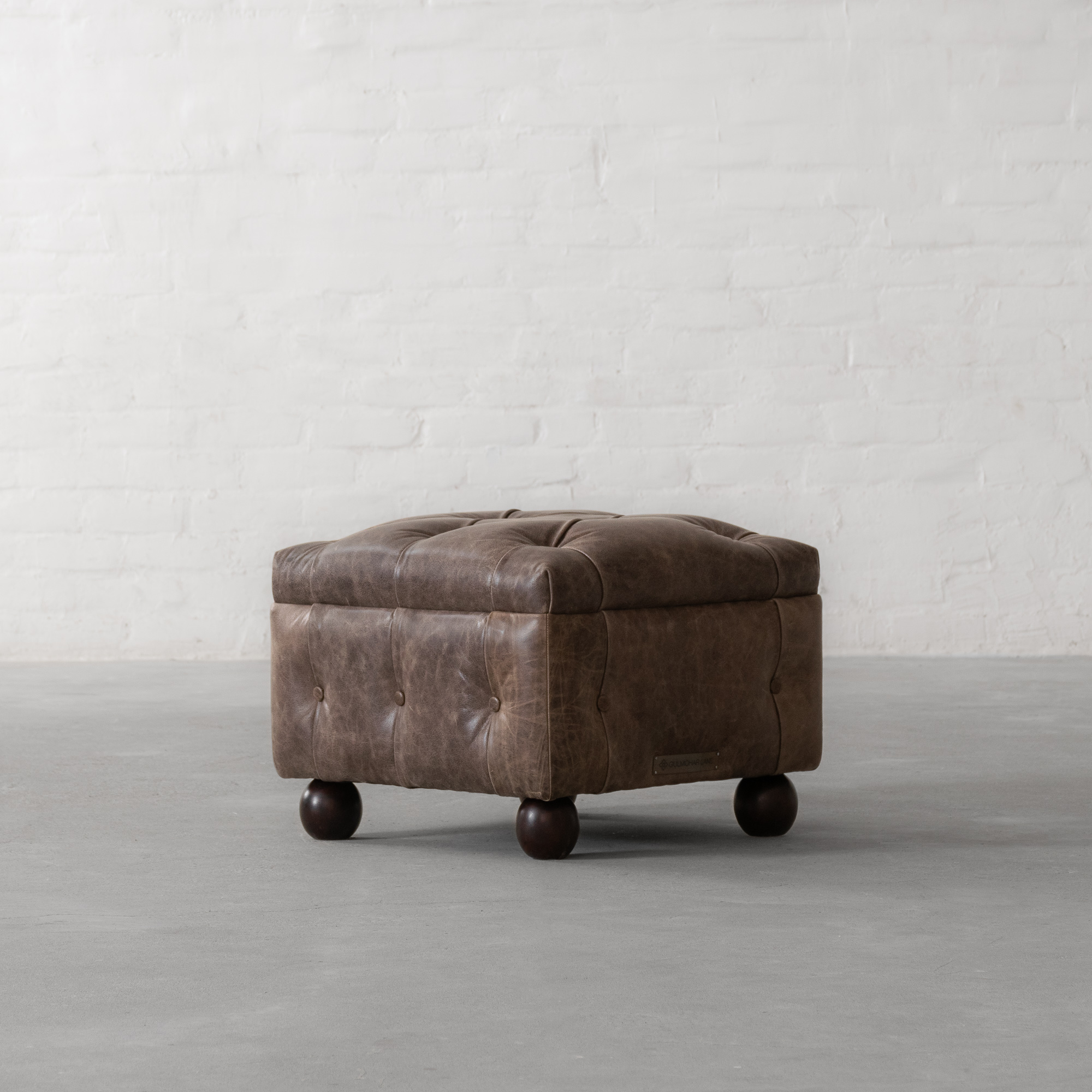 Chesterfield Ottoman in Leather