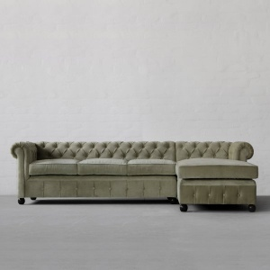 Chesterfield Chaise Sectional Sofa- Large