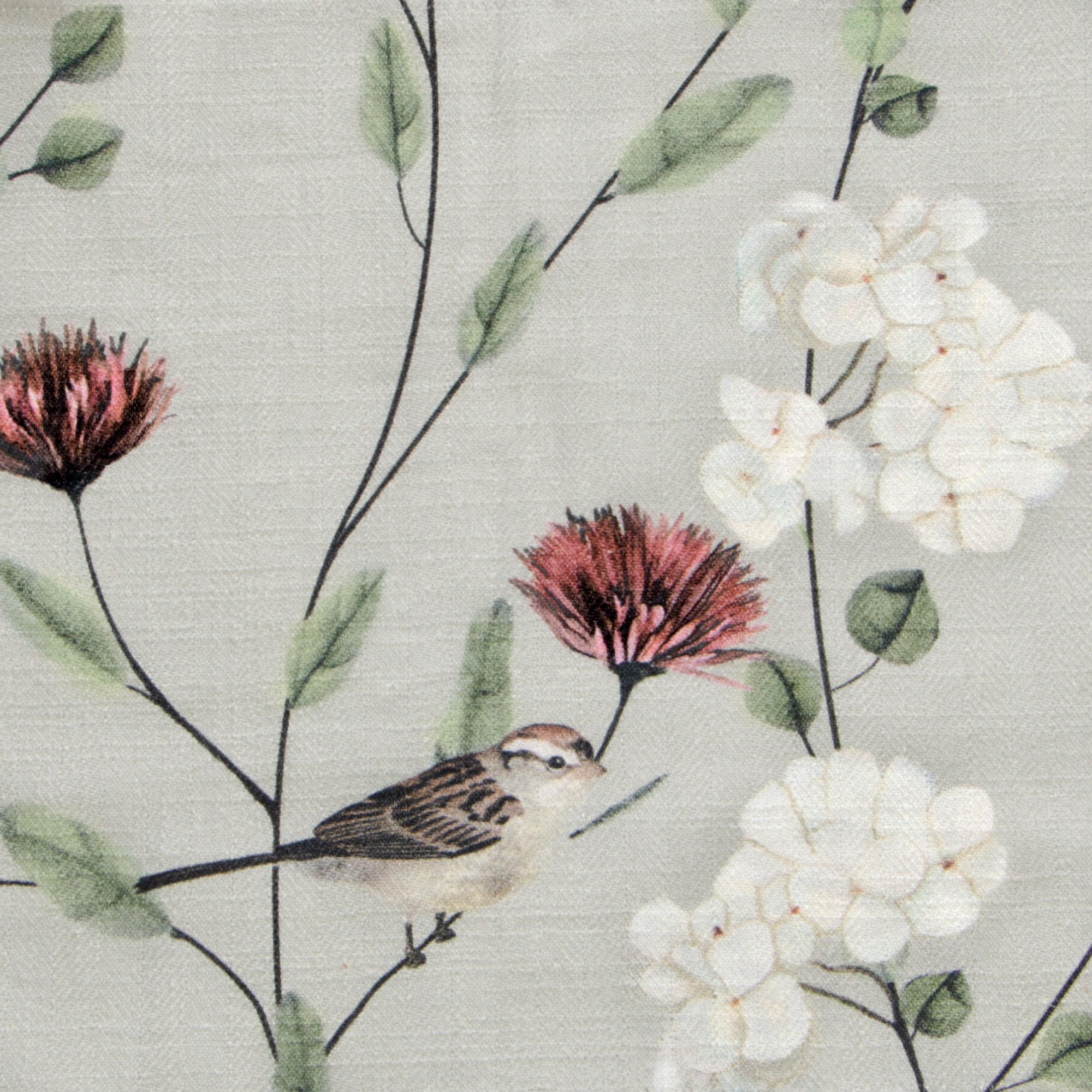 "Chrysanthemums & Sparrows Breeze Fabric Swatch 6"" x 6"""