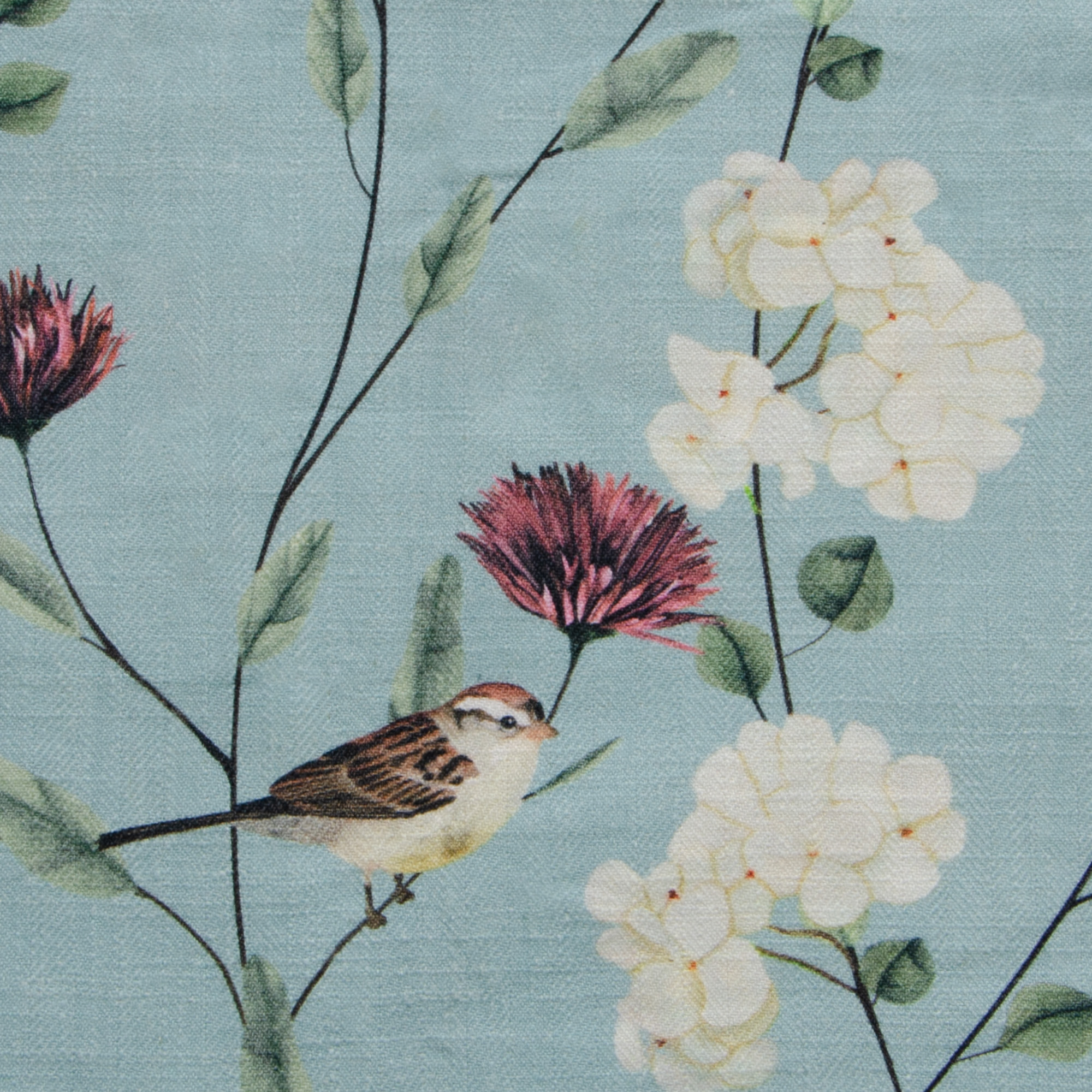 "Chrysanthemums & Sparrows Ocean Fabric Swatch 6"" x 6"""