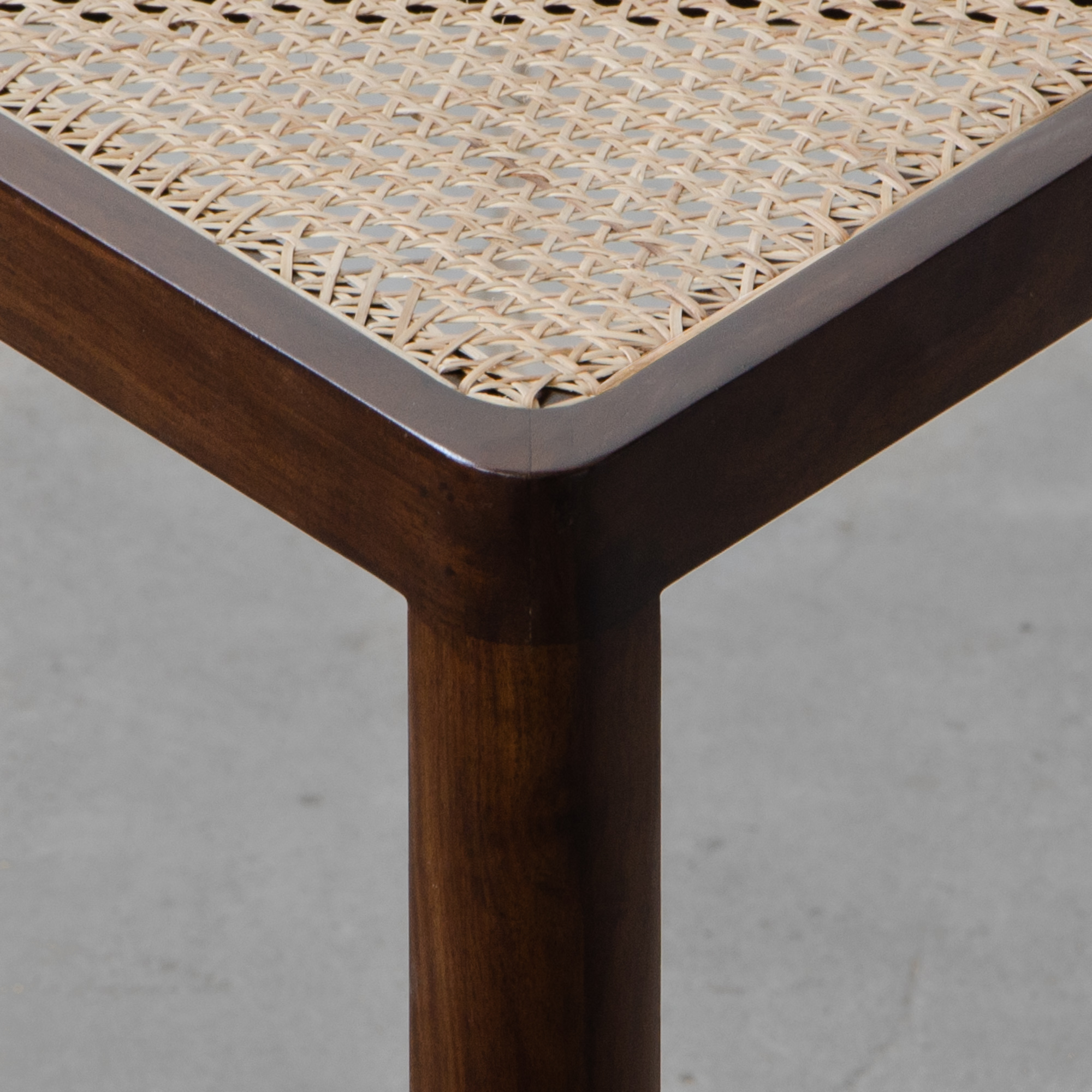Auroville Triangular Rattan Side Table