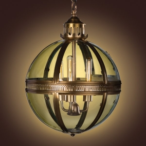 Duomo Glass Ball Chandelier Antique Brass Finish
