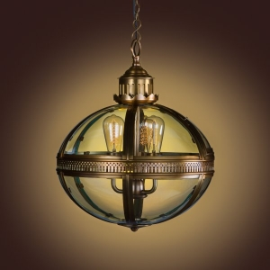 Duomo Glass Oval Chandelier Antique Brass Finish