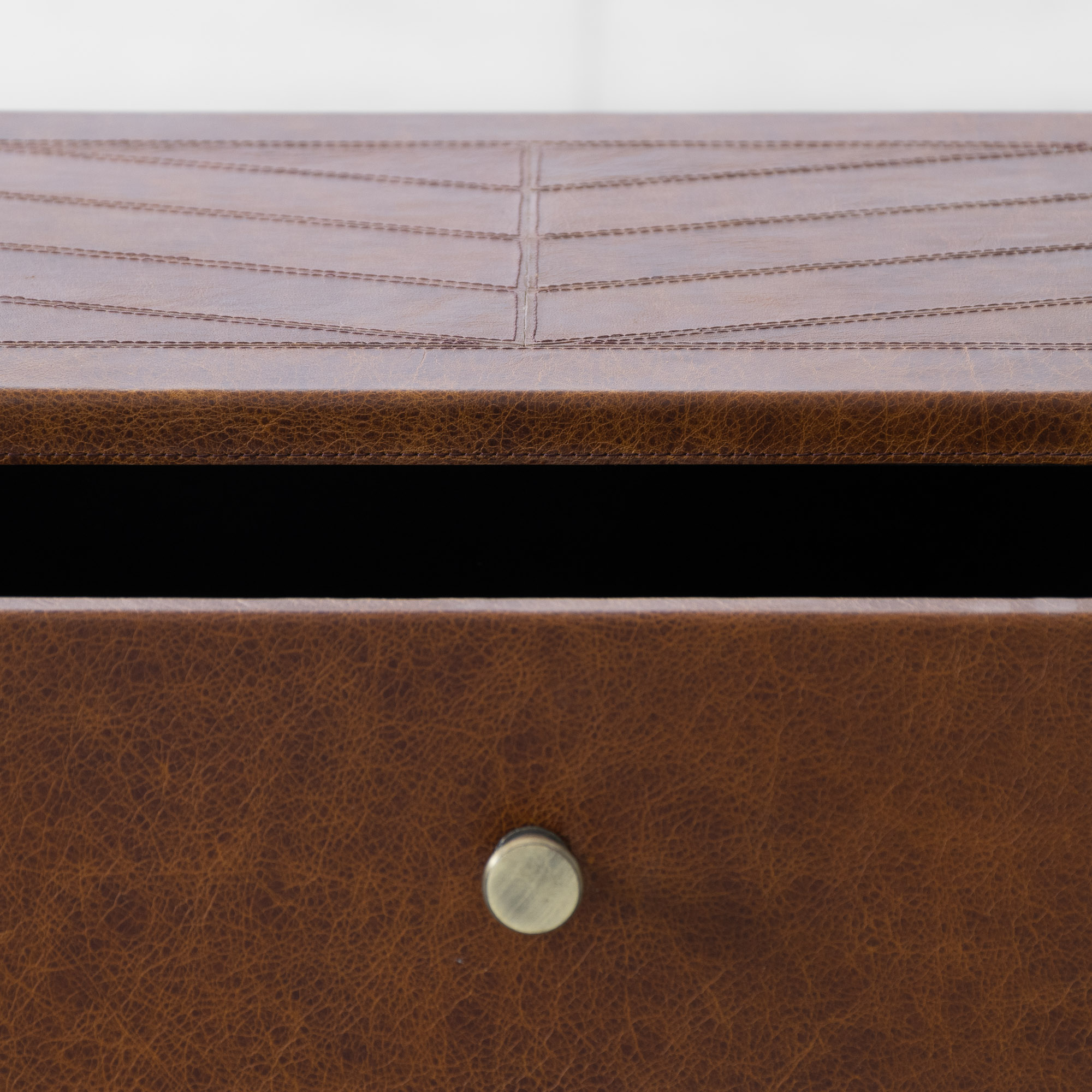 Edward Leather Clad Storage Side Table