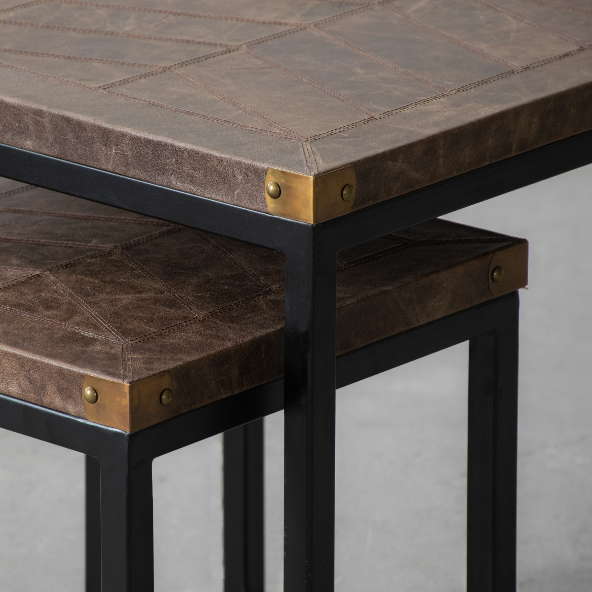 Edward Leather Top Nesting Side Table