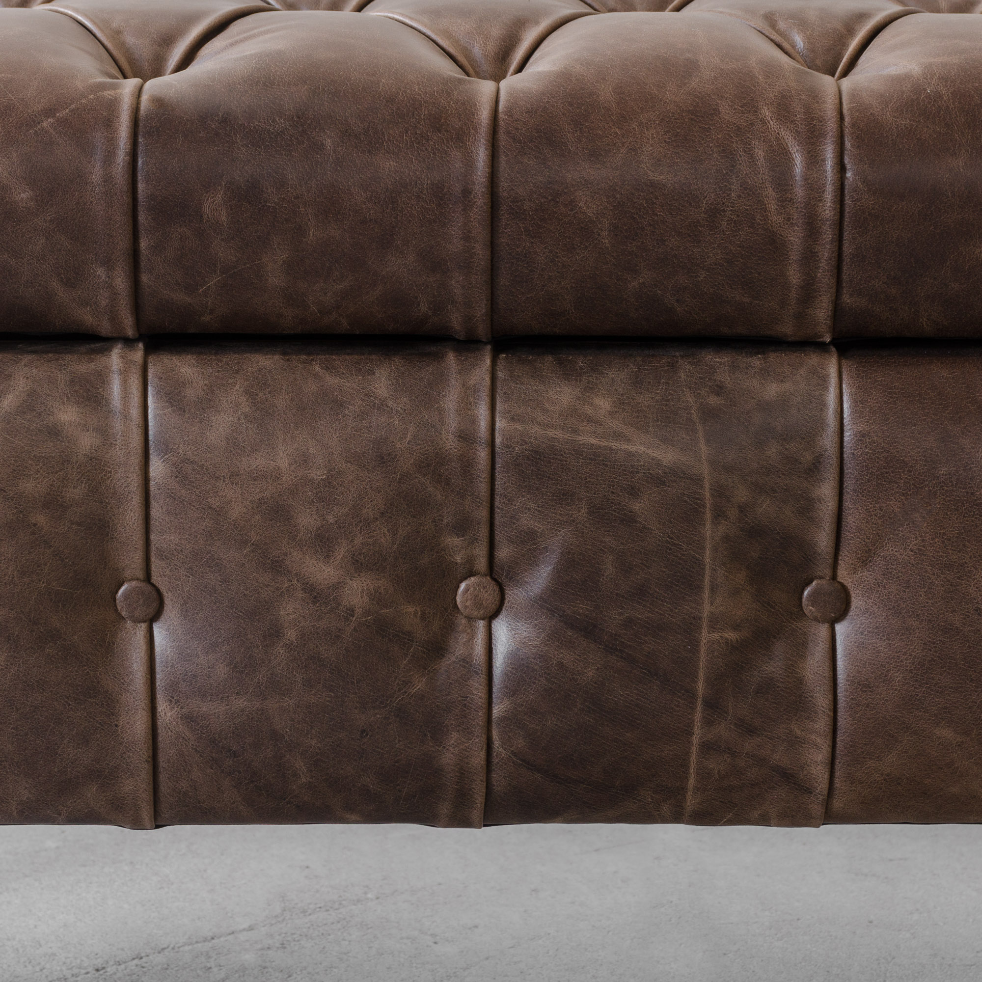 Elma Leather Tufted Storage Bench
