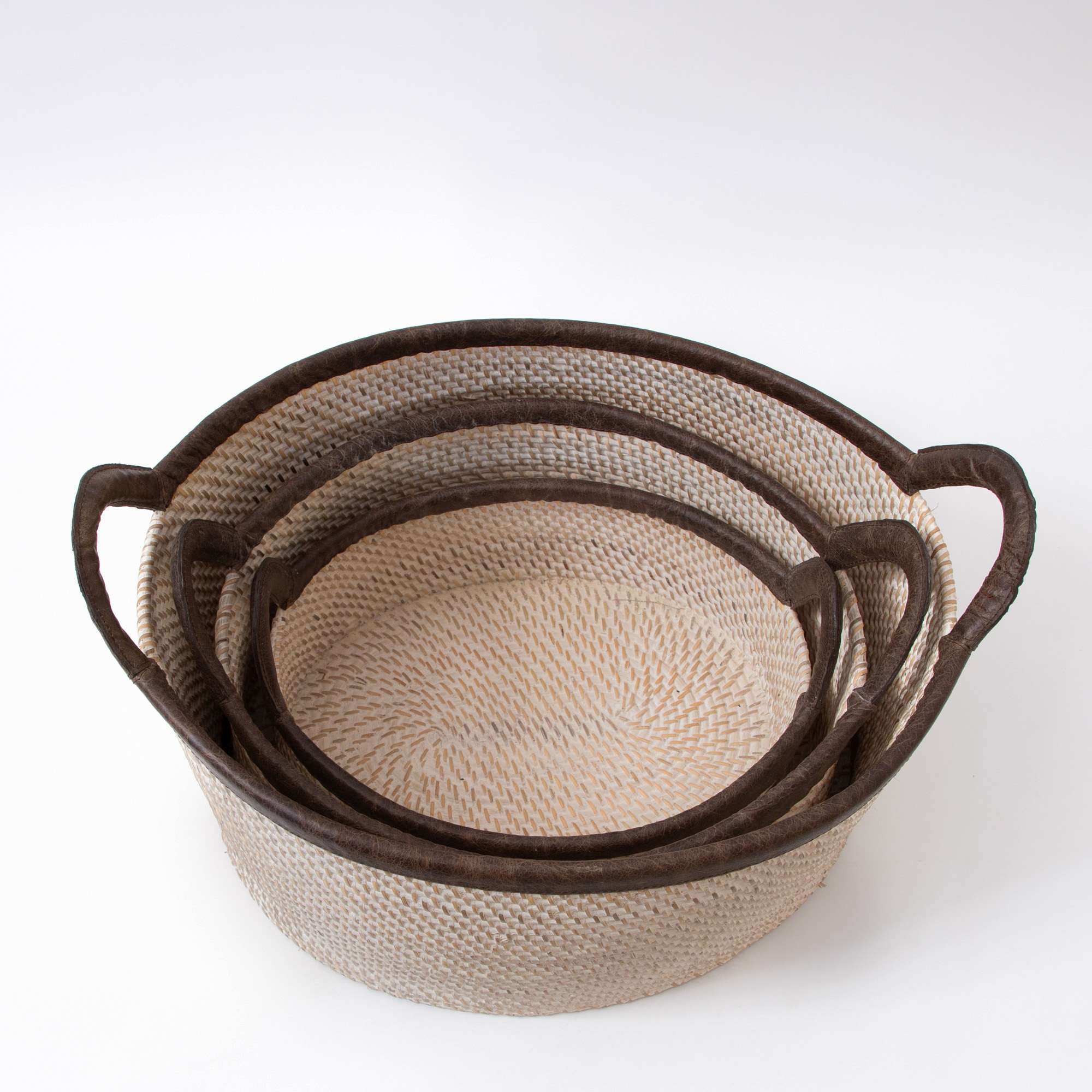Hata Rattan Woven Baskets  With Side Swing Handles – Natural