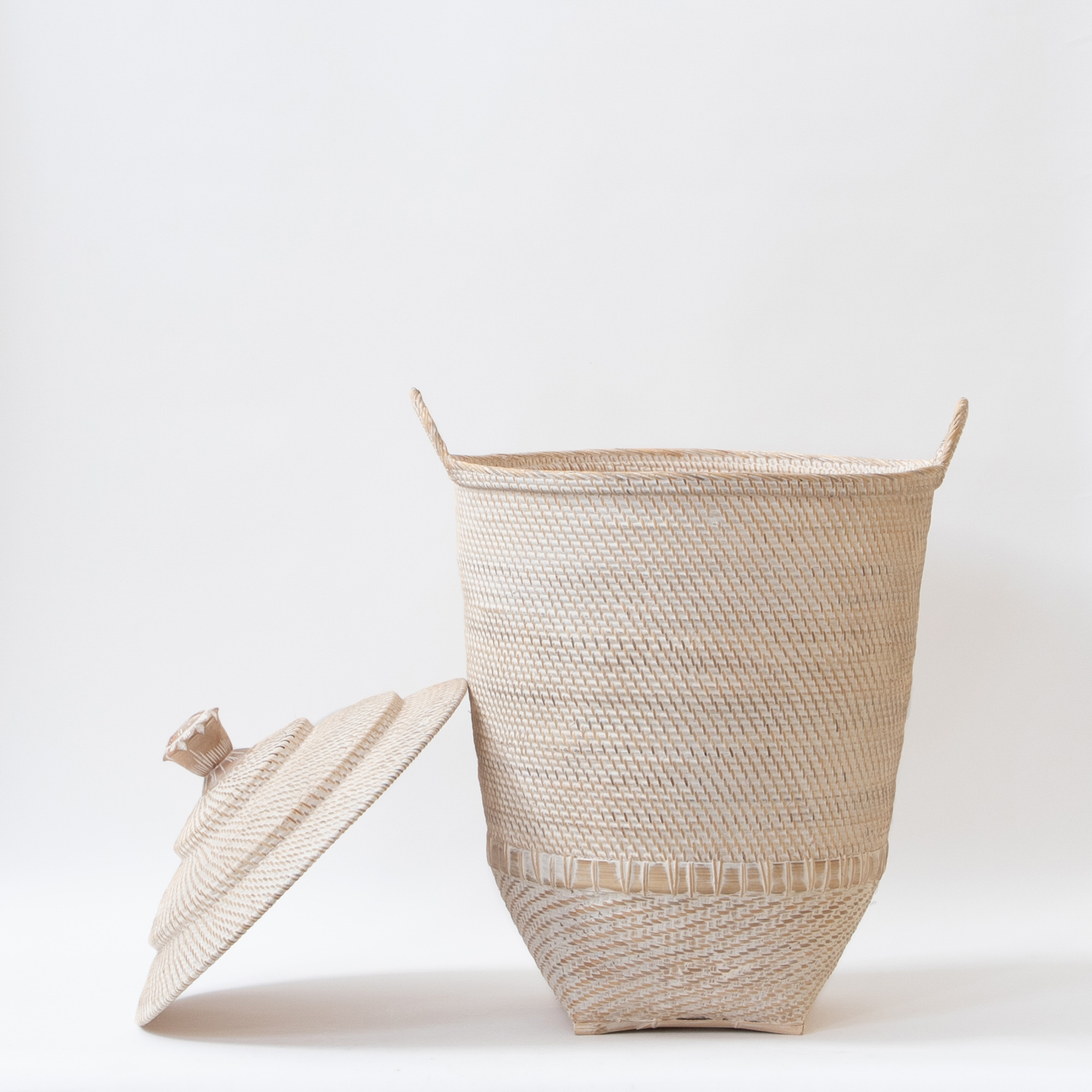 Hata Handwoven Basket With Lid and Side Swing Handles