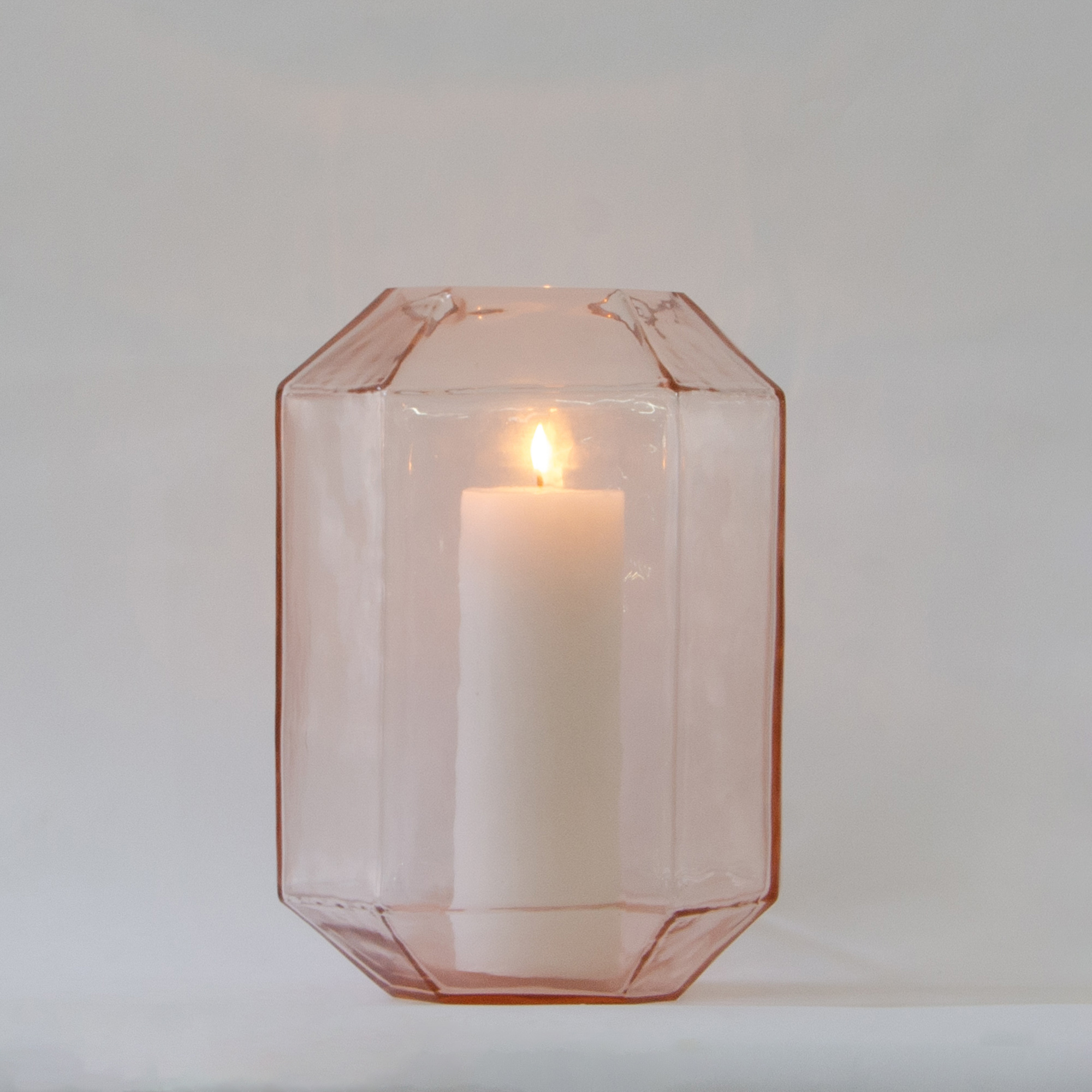 Hive Glass Candle Holder - Rose Gold