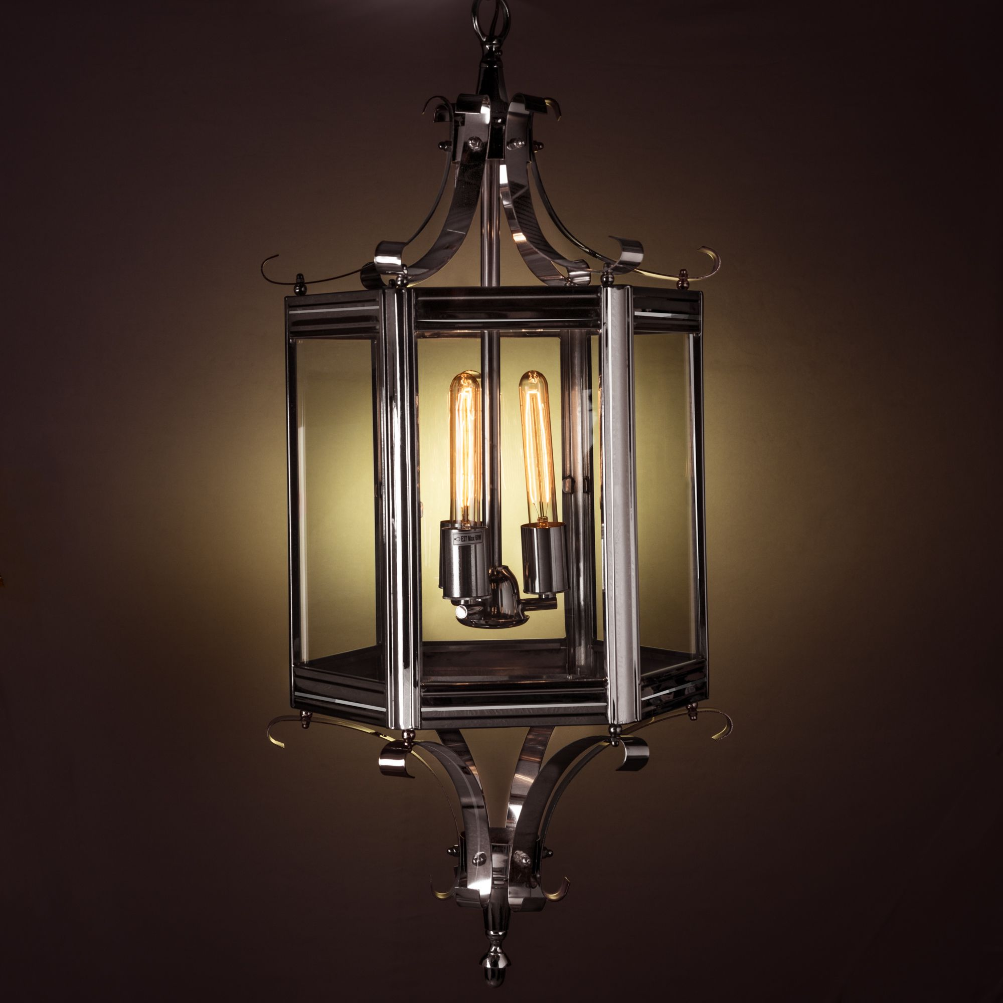 Prague Metal and Glass Chandelier Nickel Finish