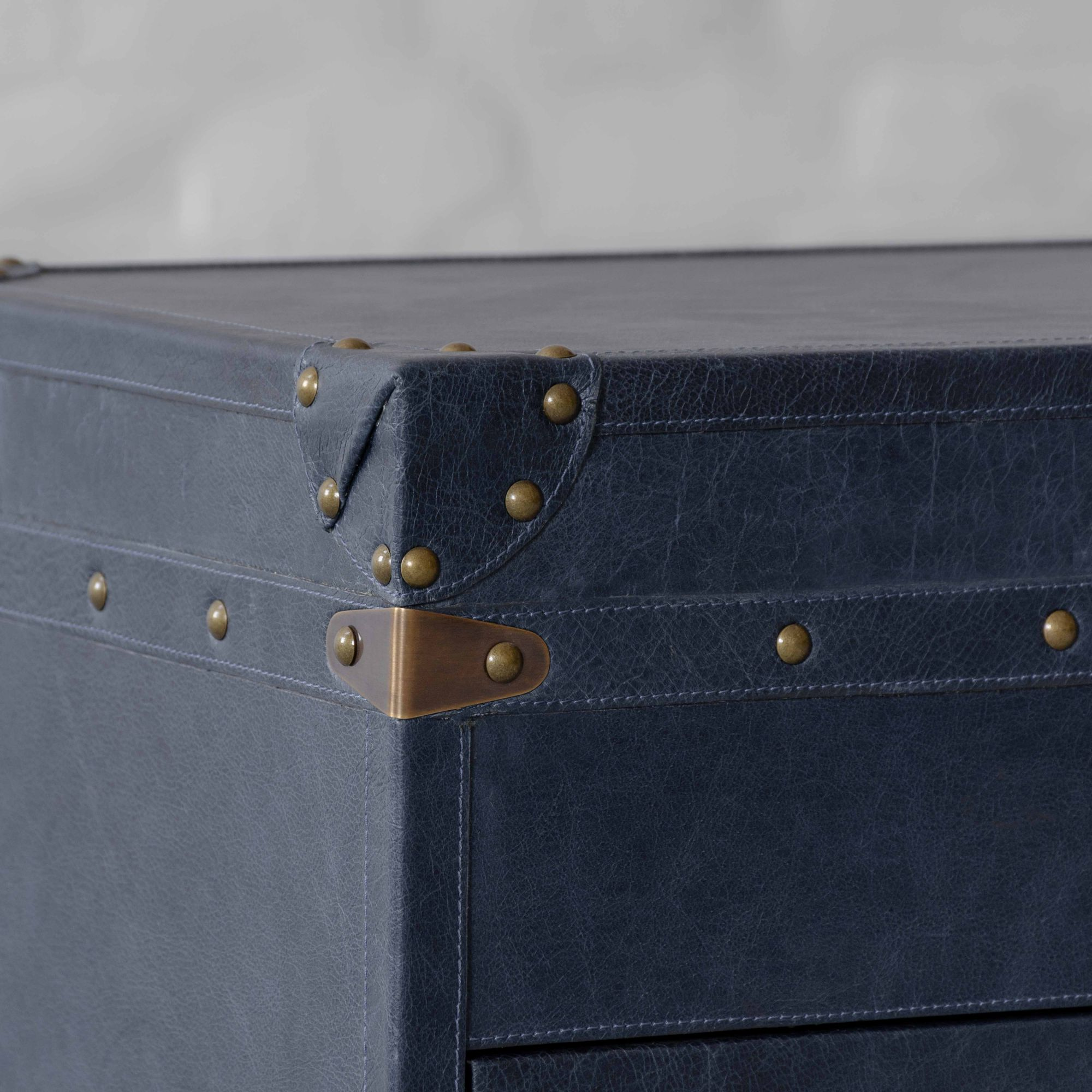 Jodhpur Leather Trunk Bedside Table
