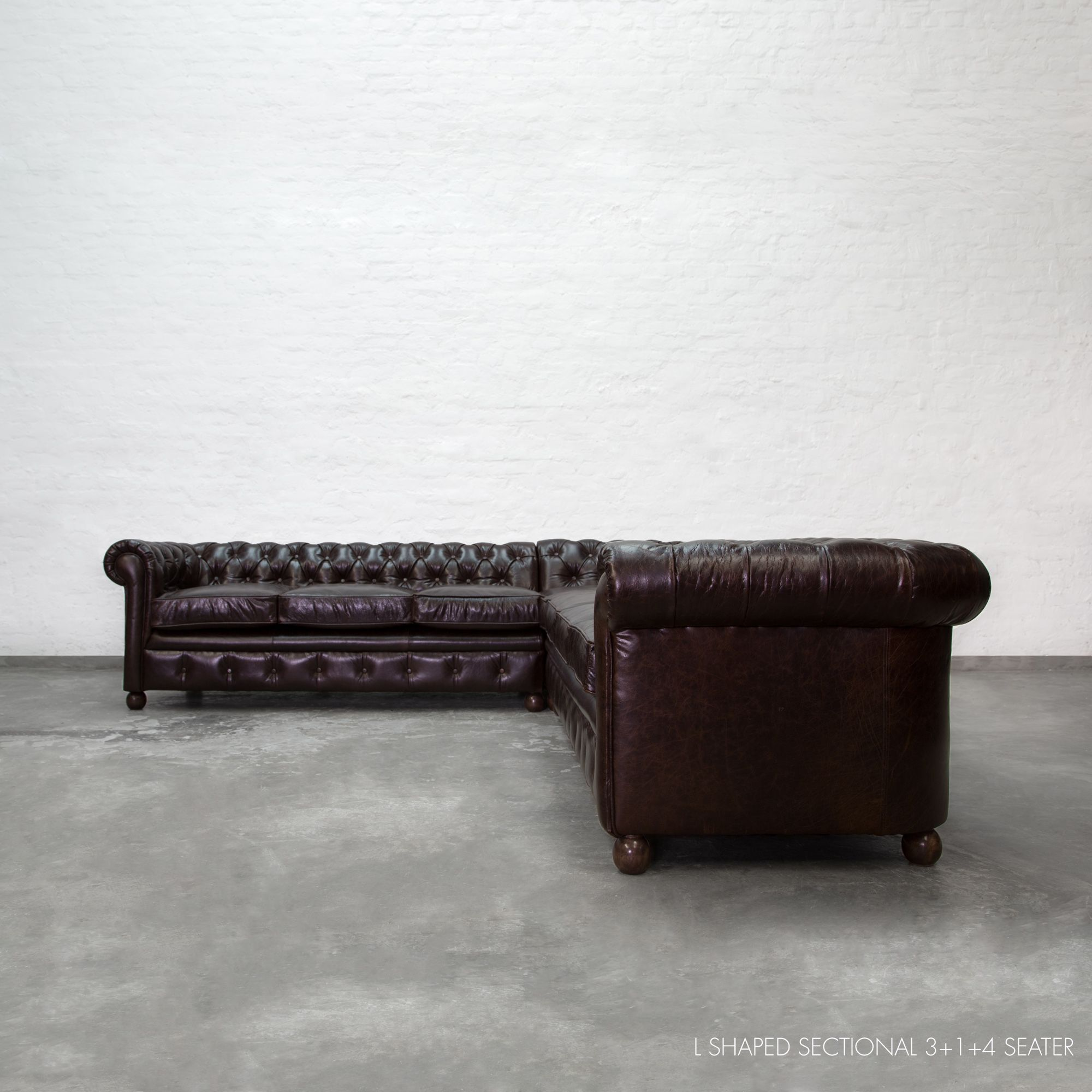 L Shaped Chesterfield Sectional 3 +1+ 4 Seater