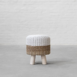 Langkawi Handwoven Ottoman – Natural White