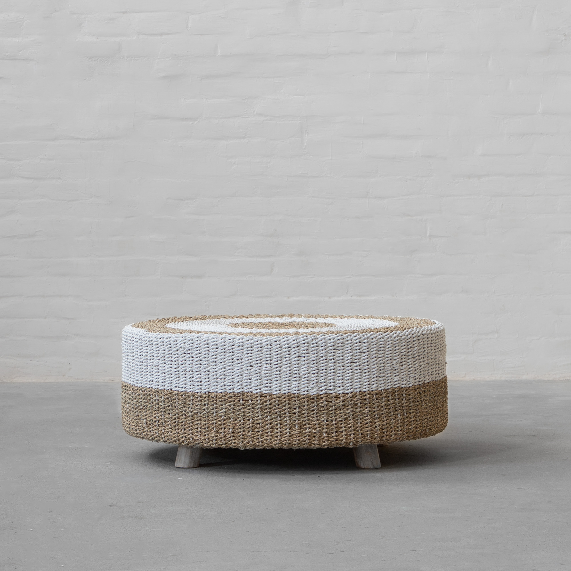 Langkawi Seagrass Round Coffee Table Natural White
