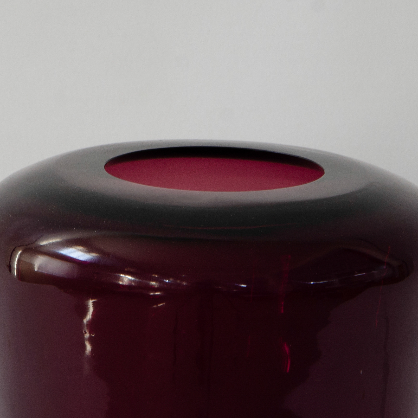 Lantern Glass Candle Holder - Smoked Burgundy